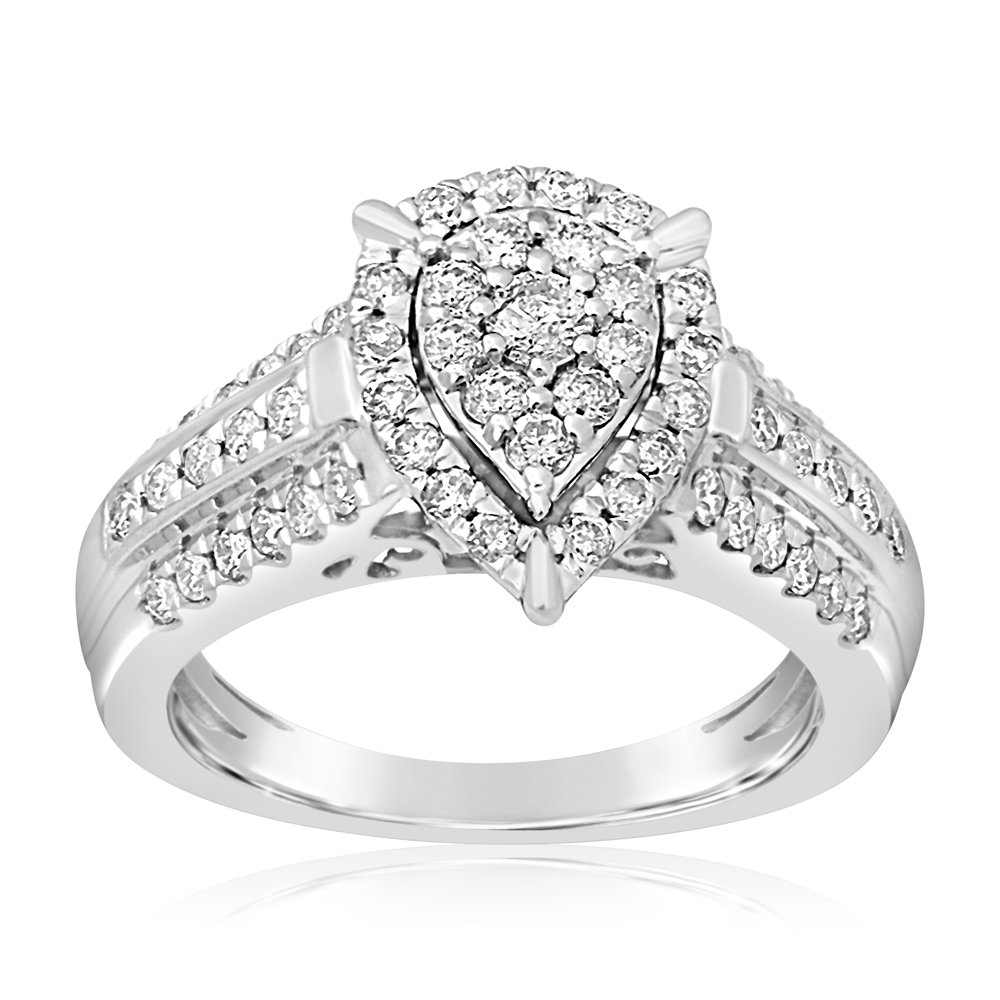 9ct White Gold 1 Carat Pear Shape Diamond Ring