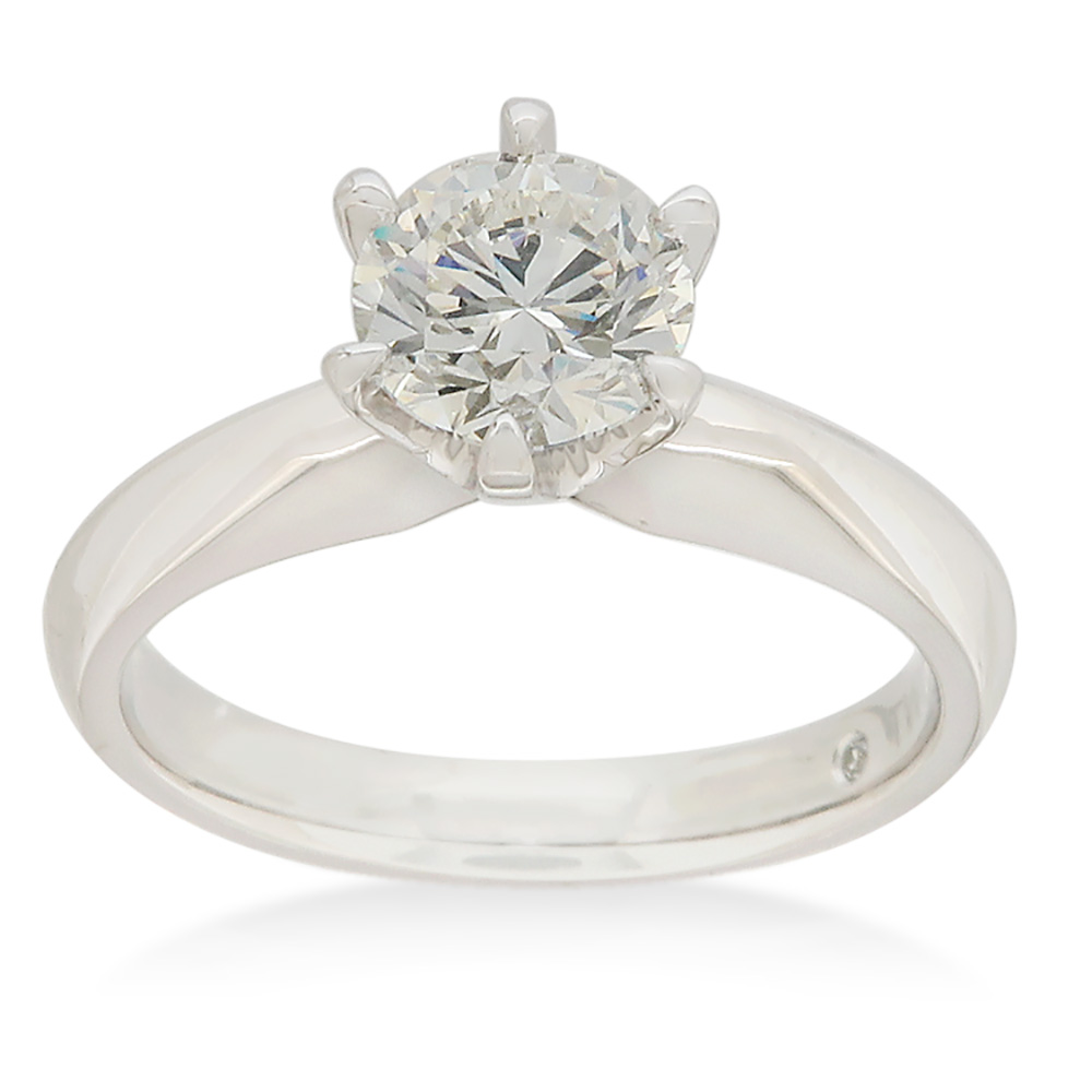 2 Carat Diamond Solitaire Ring set in Platinum with 6 Claws and Knife Edge Setting