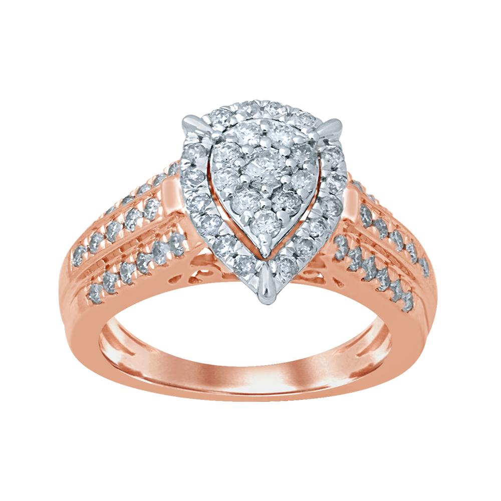 9ct Rose Gold 1 Carat Pear Shape Diamond Ring