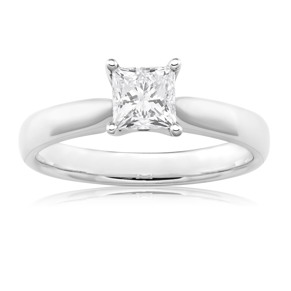 18ct White Gold 3/4 Carat Princess Cut DF SI Certified Diamond Solitaire Ring