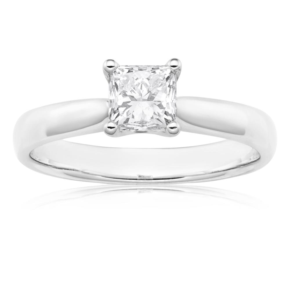 18ct 1.00 Carat Princess Certified Solitaire Diamond Ring