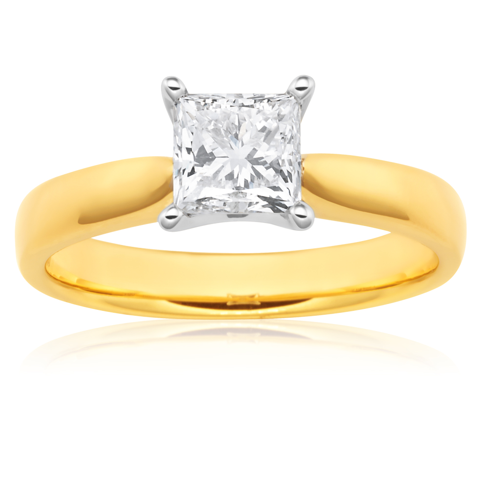 18ct 1.00 Carat Princess Certified Solitaire Diamond Ring