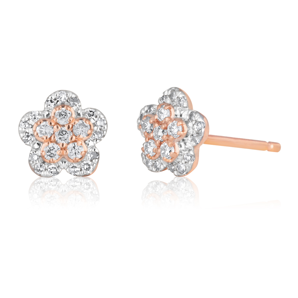 14ct Rose Gold Studs with  Pink Argyle Diamonds 1/5 Carat