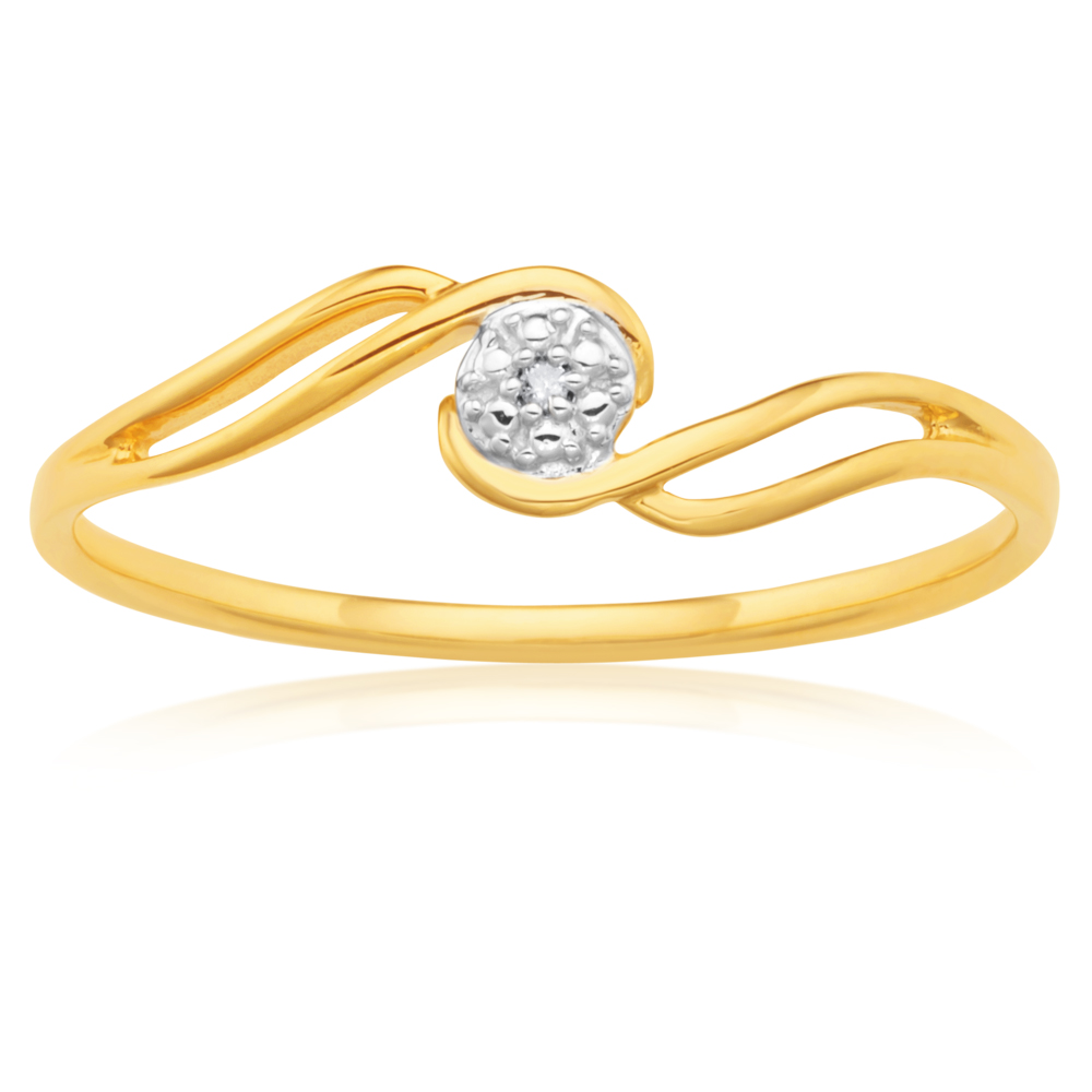 9ct Yellow Gold Diamond Swirl Ring