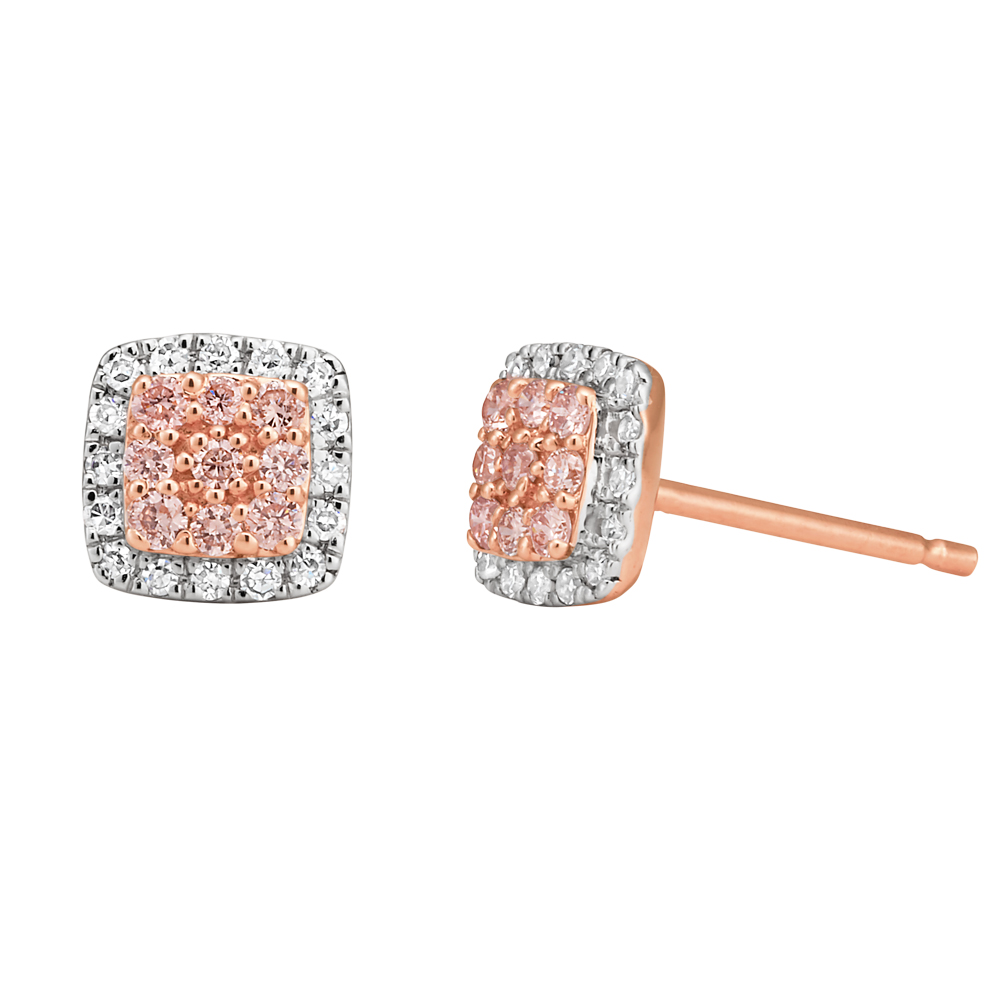 Pink Argyle Diamond Stud Earrings