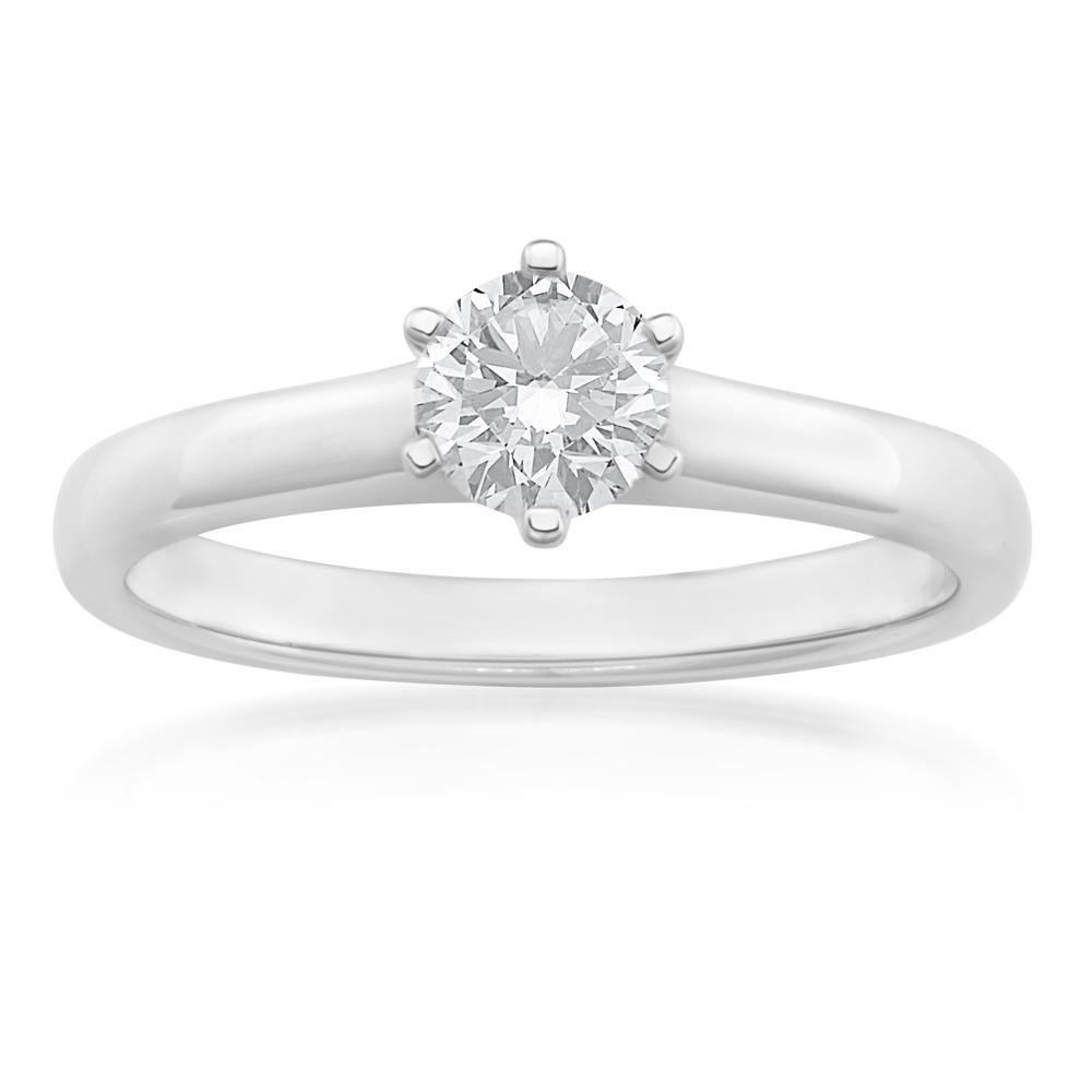 18ct White Gold 1/2 Carat J Internally Flawless Certified Diamond Ring