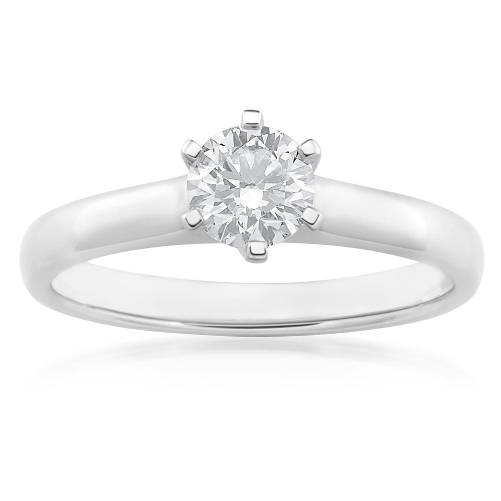 18ct White Gold 0.70 Carat J Internally Flawless Certified Diamond Ring