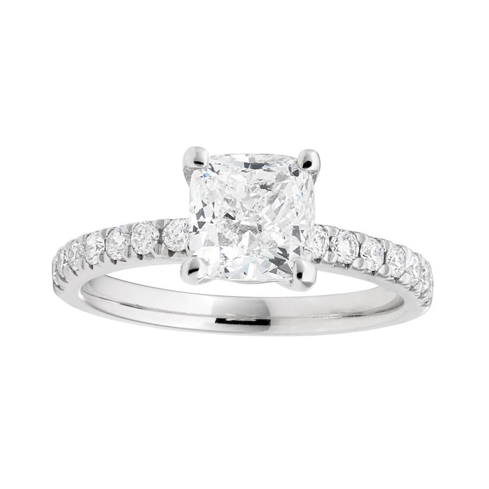 18ct White Gold 1.70 Carat Diamond Ring with 1.51 Carat Certified Cushion Diamond