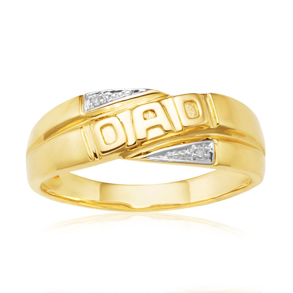 9ct Yellow Gold 0.02 Carat Dad Diamond Ring with 2 Brilliant Cut Diamonds