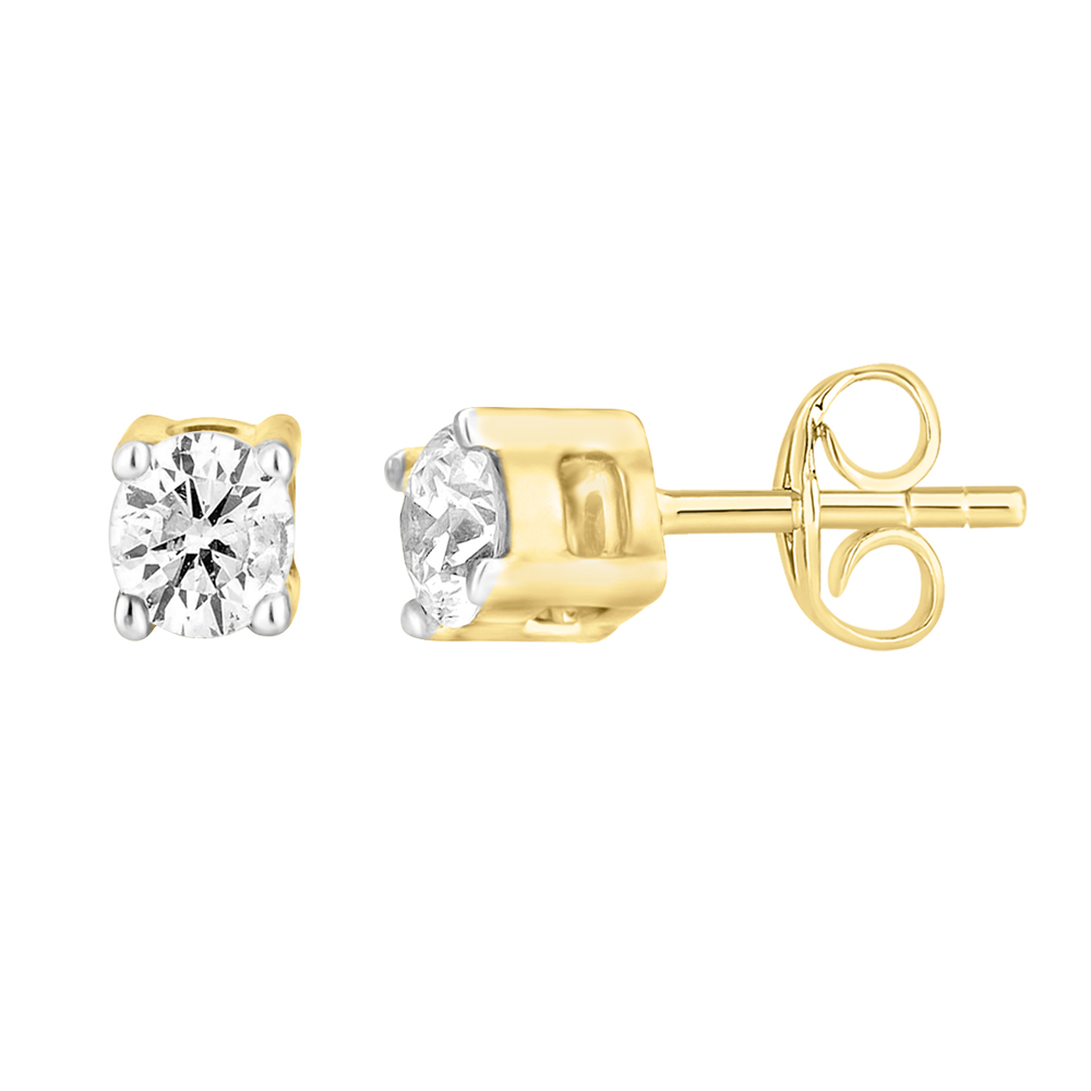 9ct Yellow Gold  0.05 Carat Diamond Stud Earrings