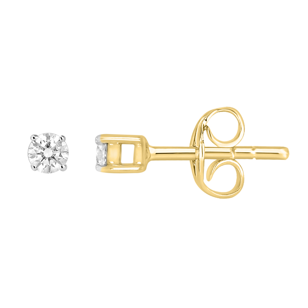 9ct Yellow Gold  0.10 Carat Diamond Stud Earrings