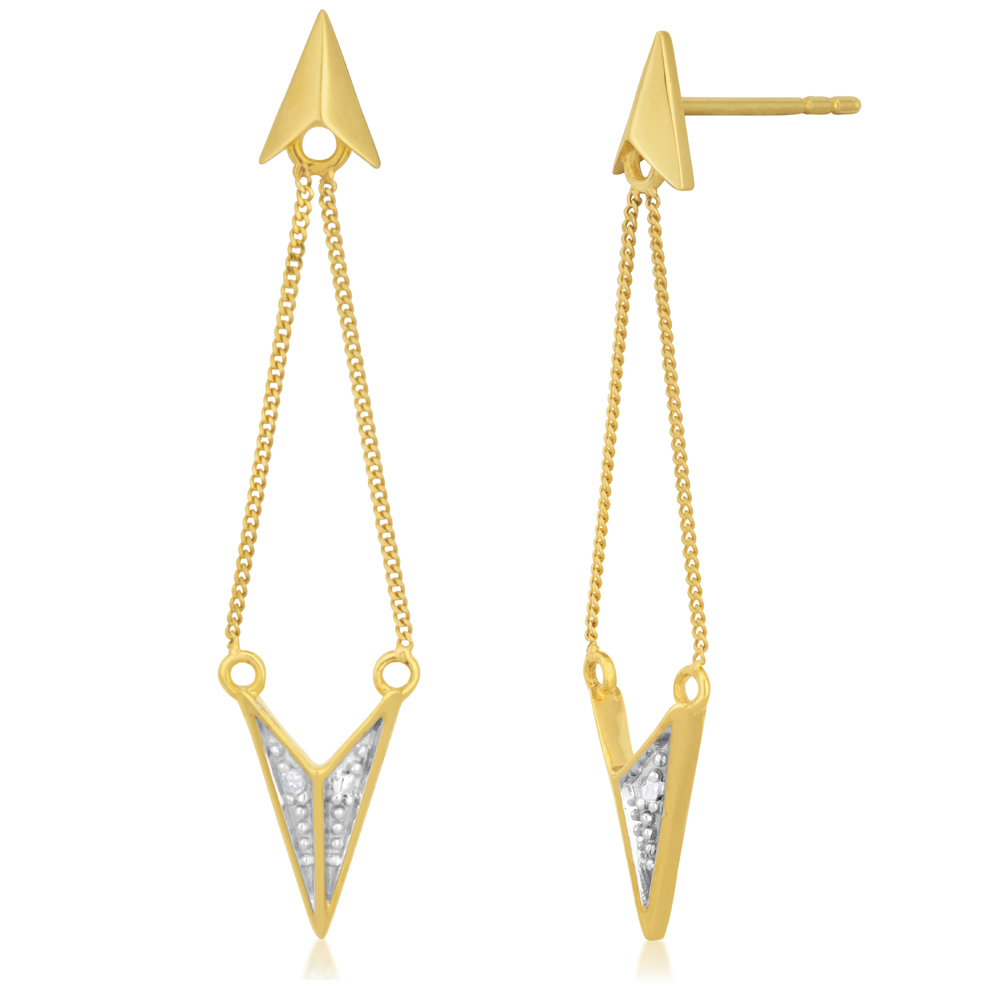 9ct Yellow Gold Diamond Drop Earrings with 2 Brilliant Diamonds