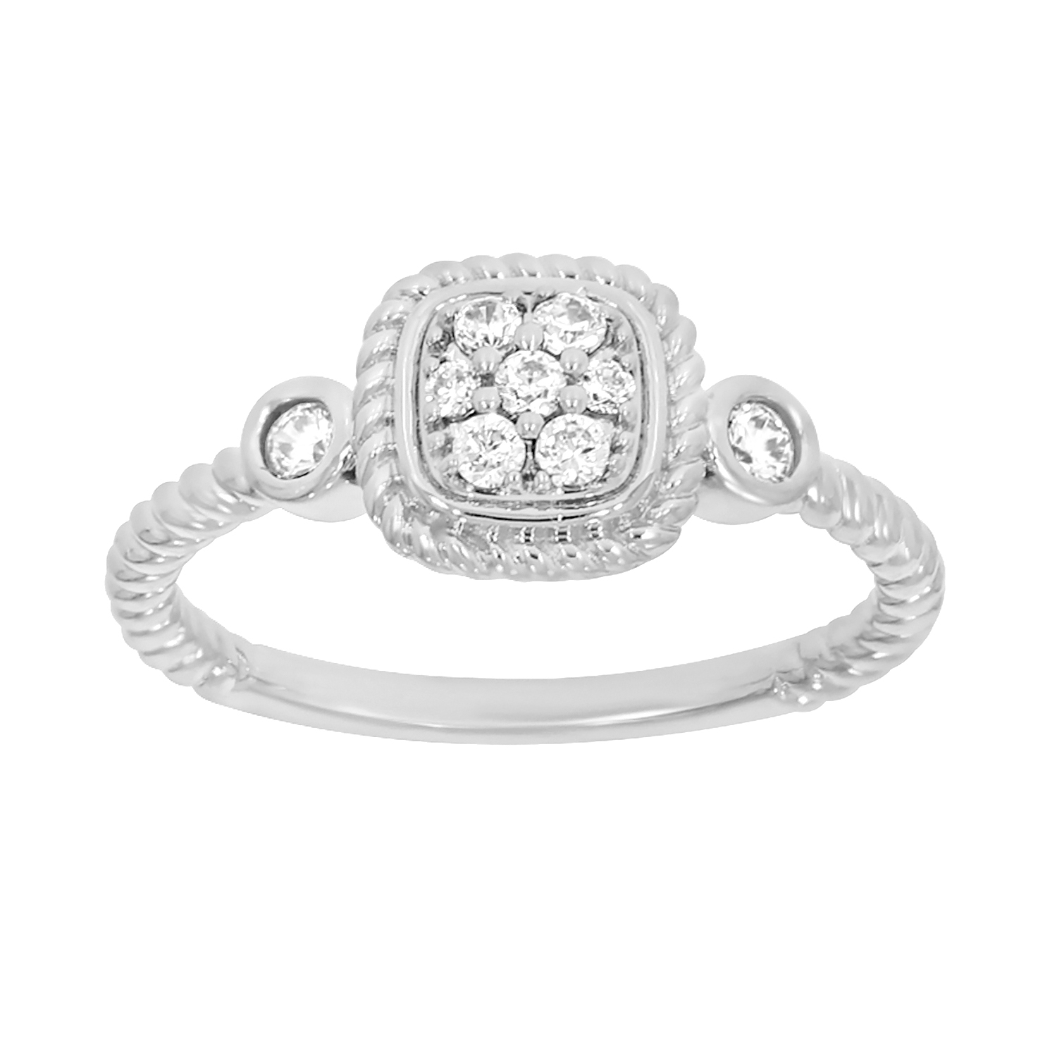 9ct White Gold Cushion Shape Diamond Ring with 9 Briliiant Diamonds