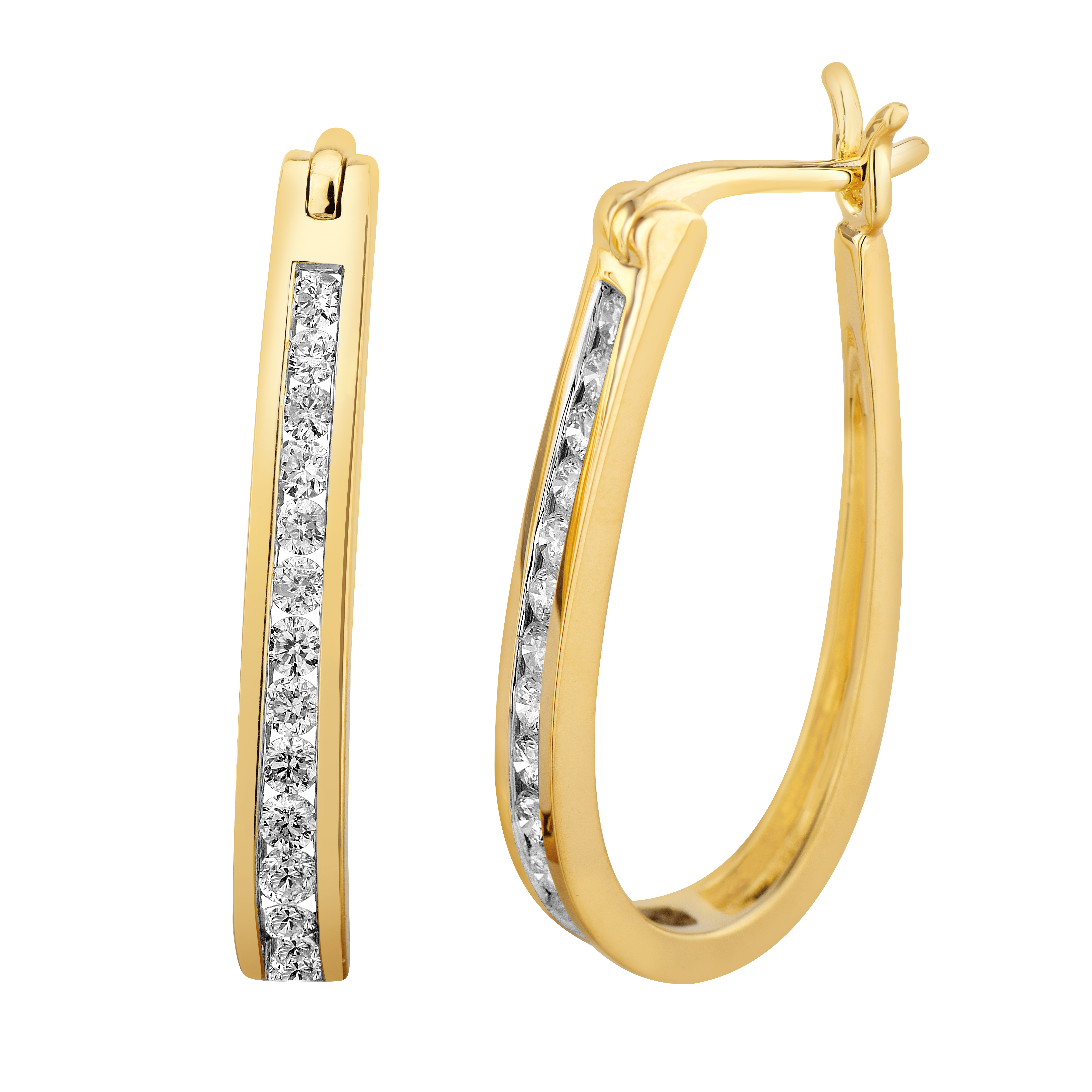 9ct Yellow Gold 1/2 Carat Chanel Set Hoop Earrings with 28 Brilliant Diamonds
