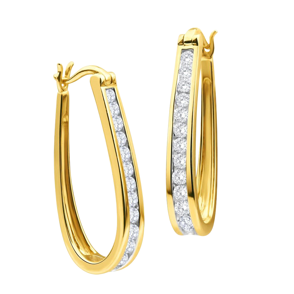 9ct Yellow Gold 1 Carat Chanel Set Hoop Earrings with 28 Brilliant Diamonds