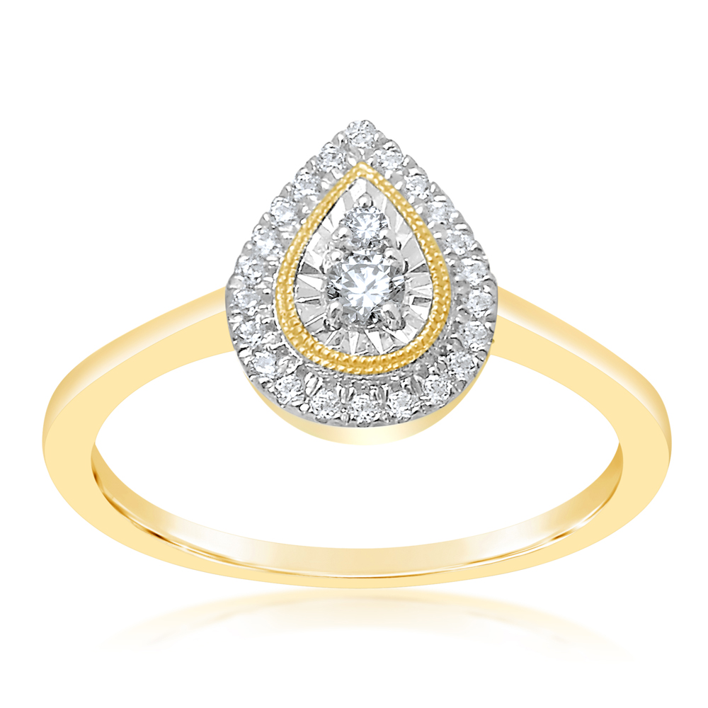 9ct Yellow Gold Pear Shape Diamond  Ring with 24 Brilliant Diamonds