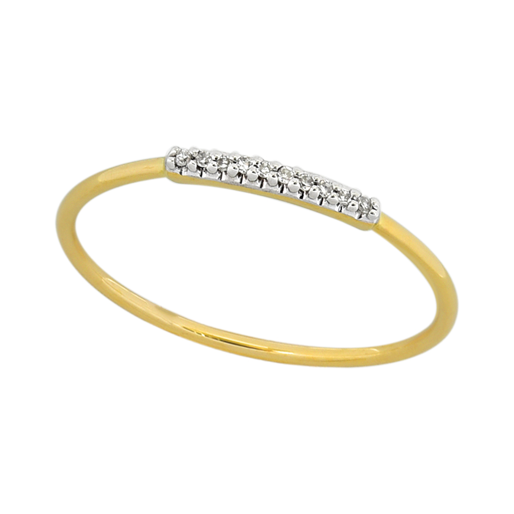 9ct Yellow Gold Diamond Ring with 10 Brilliant Diamonds