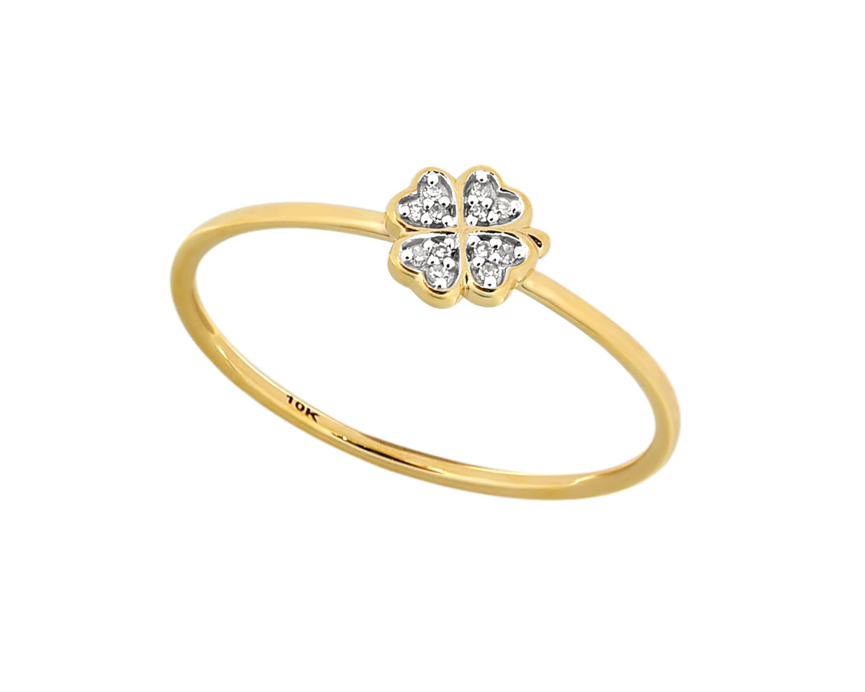 9ct Yellow Gold Diamond 4 Leaf Clover Ring with 12 Brilliant Diamonds