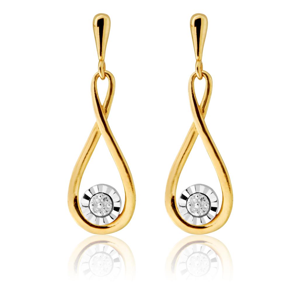 9ct Yellow Gold Diamond Infirnity Drop Earrings with 8 Brilliant Diamonds