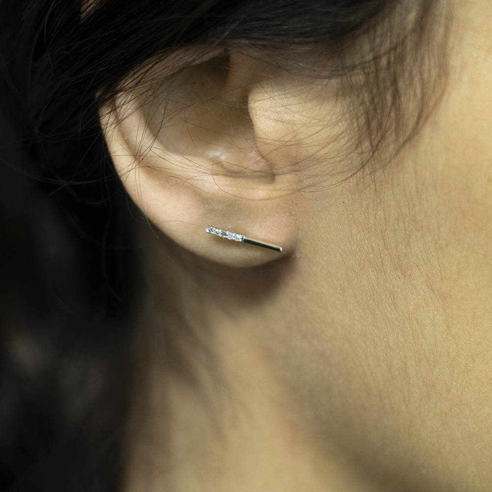 9ct Yellow Gold 0.05 Carat Diamond Bar Earrings with 10 Brilliant Cut Diamonds