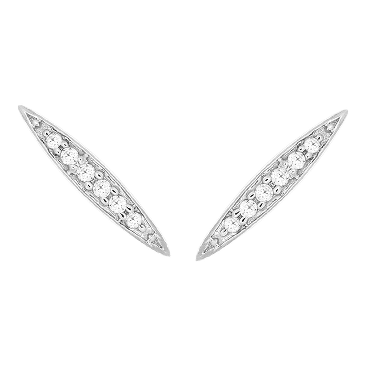9ct White Gold 0.01 Carat Diamond Bar Earrings with 12 Brilliant Cut Diamonds