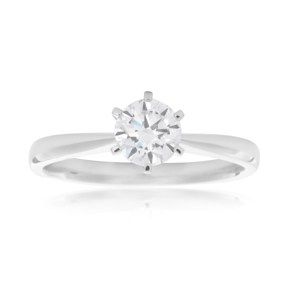 Luminesce Laboratory Grown 1/2 Carat Diamond Ring in 18ct White Gold 6Claw Setting