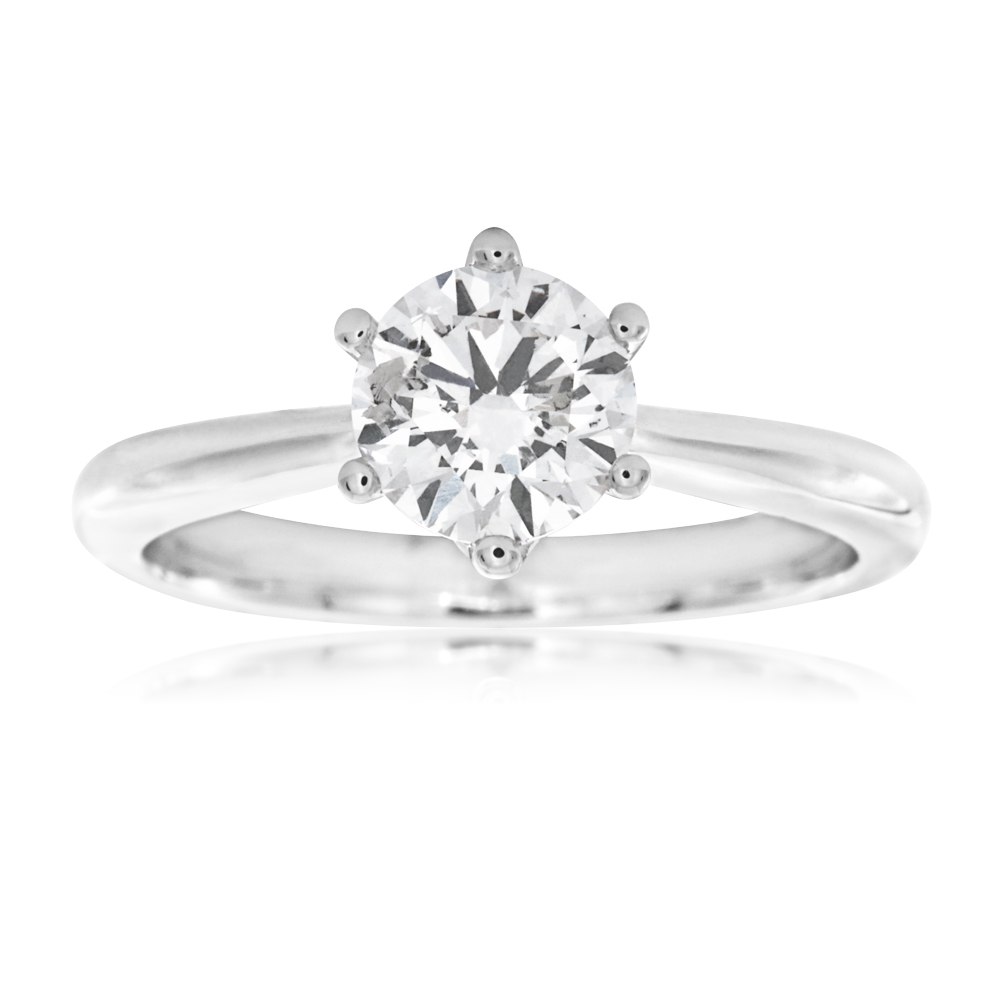 Luminesce Laboratory Grown 1 Carat Diamond Ring in 18ct White Gold 6 Claw Setting