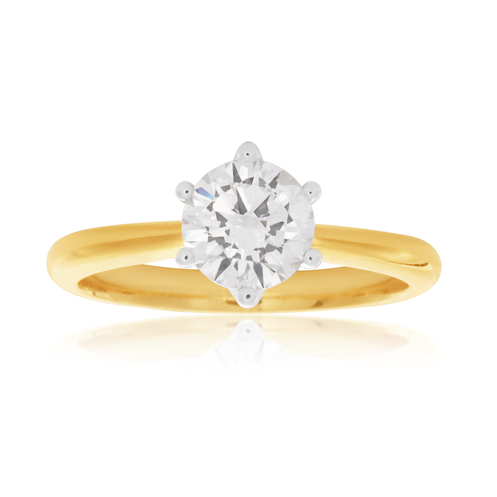 Luminesce Laboratory Grown 1 Carat Diamond Ring in 18ct Yellow Gold 6 Claw Setting