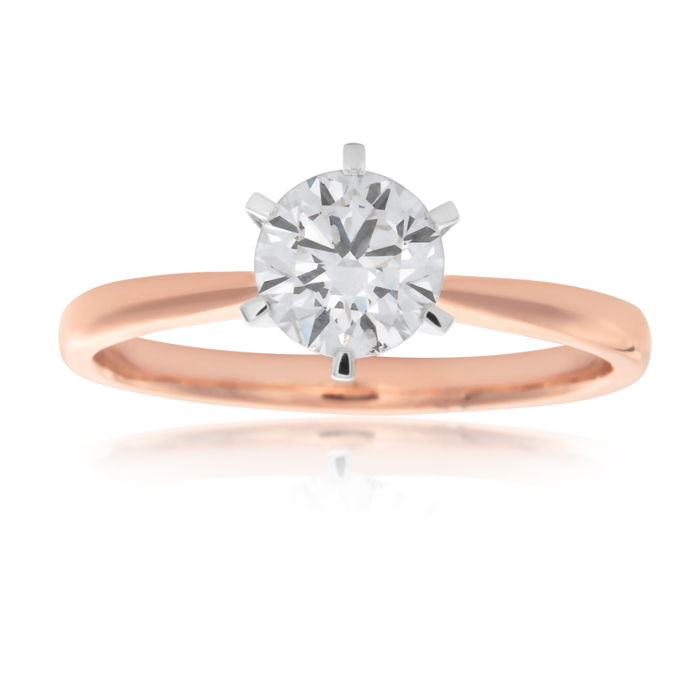 Luminesce  Laboratory Grown 1 Carat Diamond Ring in 18ct Rose Gold 6 Claw Setting