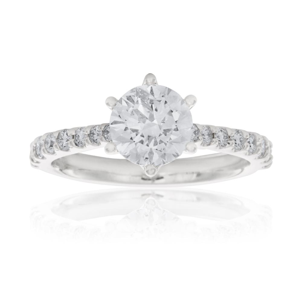 Luminesce Laboratory Grown 18ct White Gold 1 Carat Diamond Ring with 1 Carat Centre