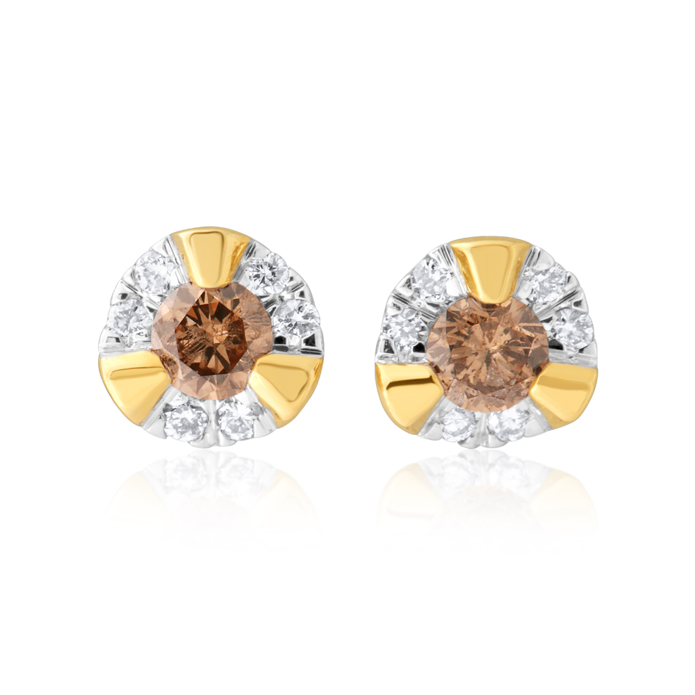 9ct Yellow Gold Australian Champagne Diamond Earrings with 1/4 Carat of Diamonds