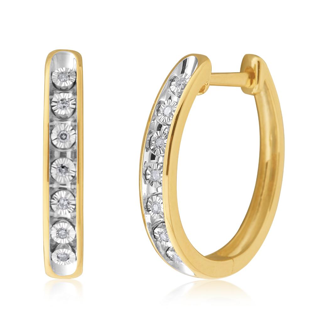 9ct Yellow Gold Diamond Hoop Earrings with 14 Brilliant Cut Diamonds