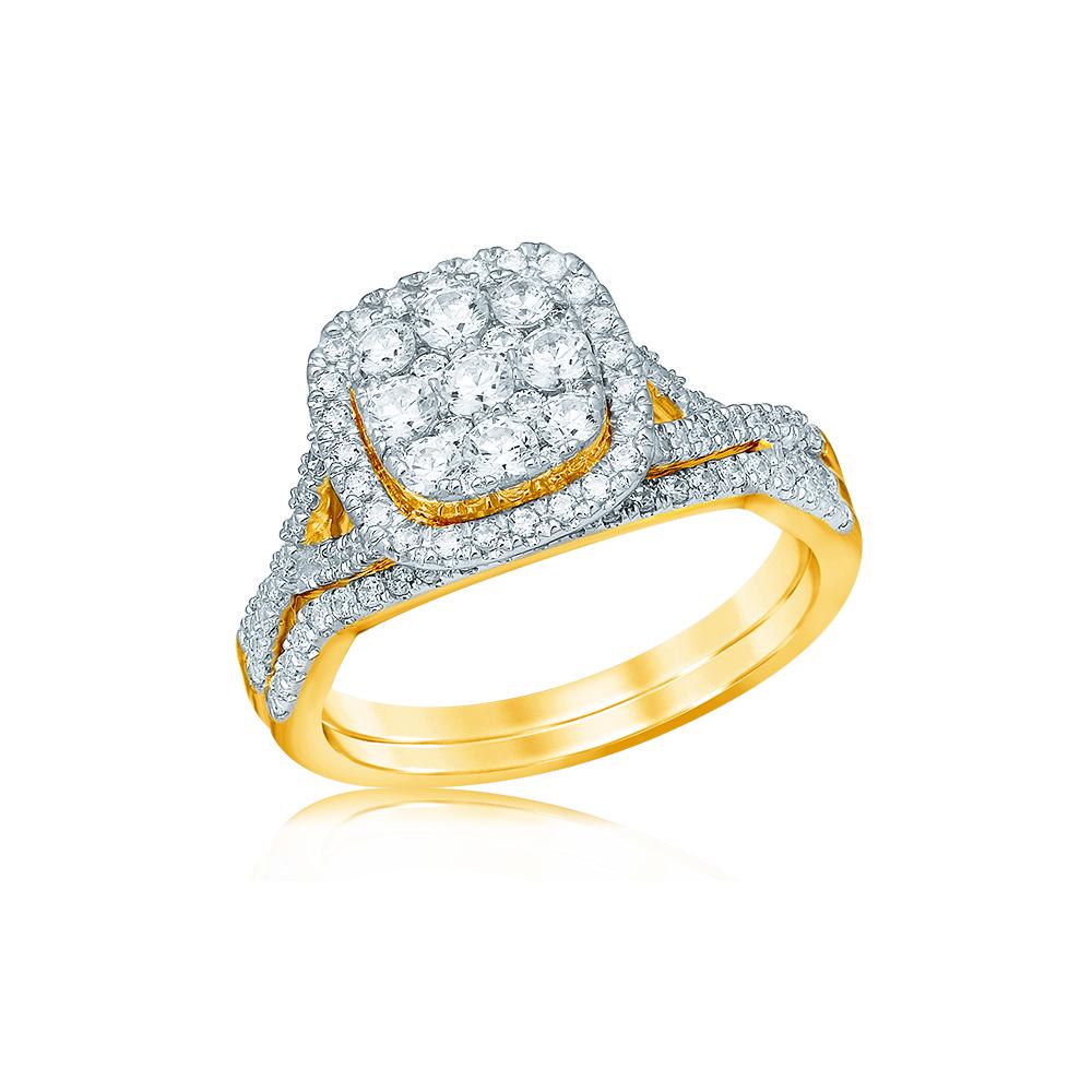 9ct Yellow Gold 1 Carat Diamond Bridal Ring Set