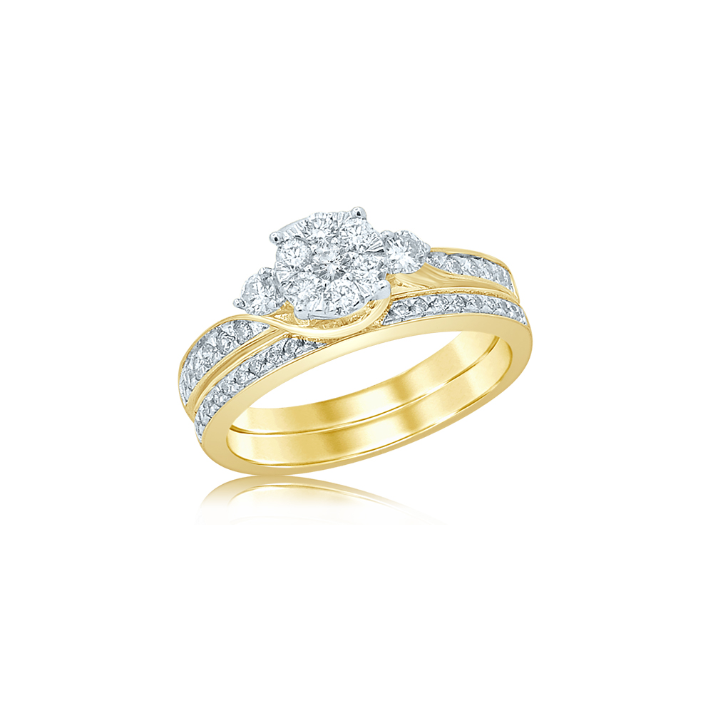 9ct Yellow Gold 60 Point Diamond Bridal Ring Set