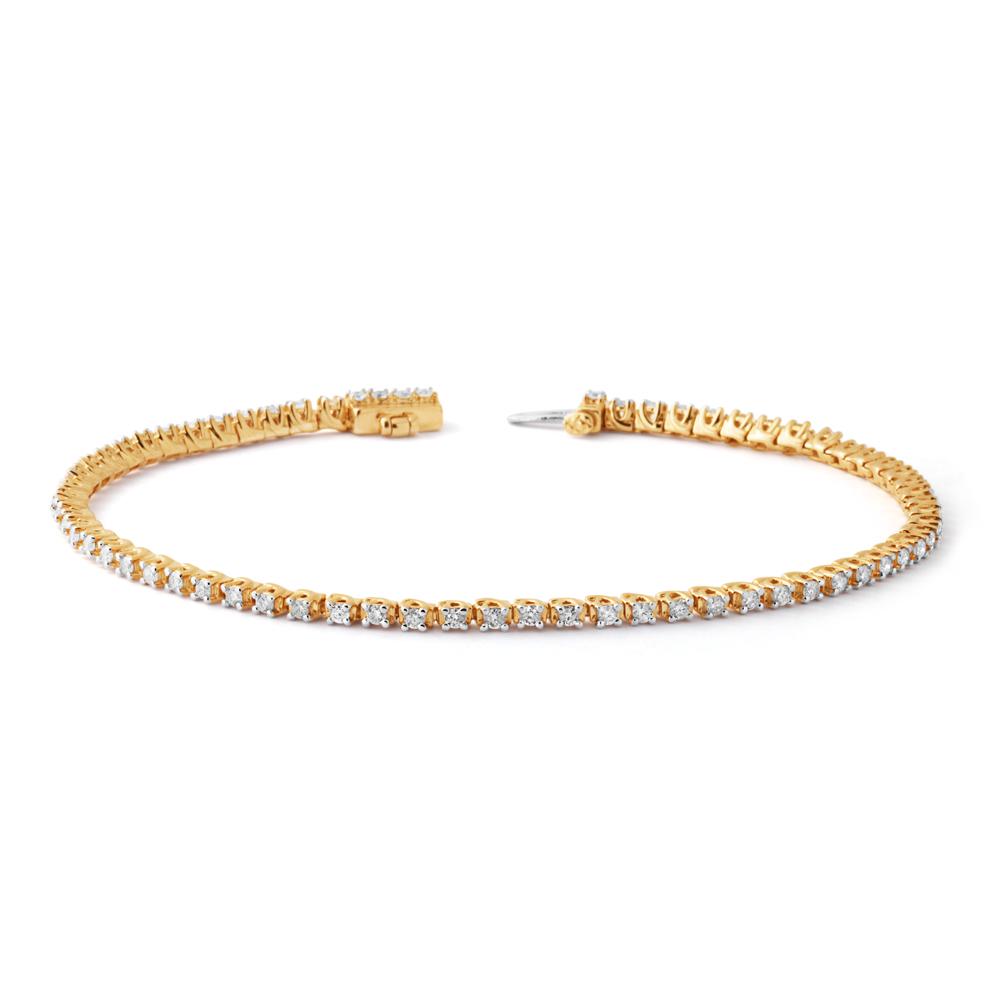 9ct Yellow Gold 1 Carat Diamond Tennis Bracelet set with 68 Brilliant Diamonds 17.5cm
