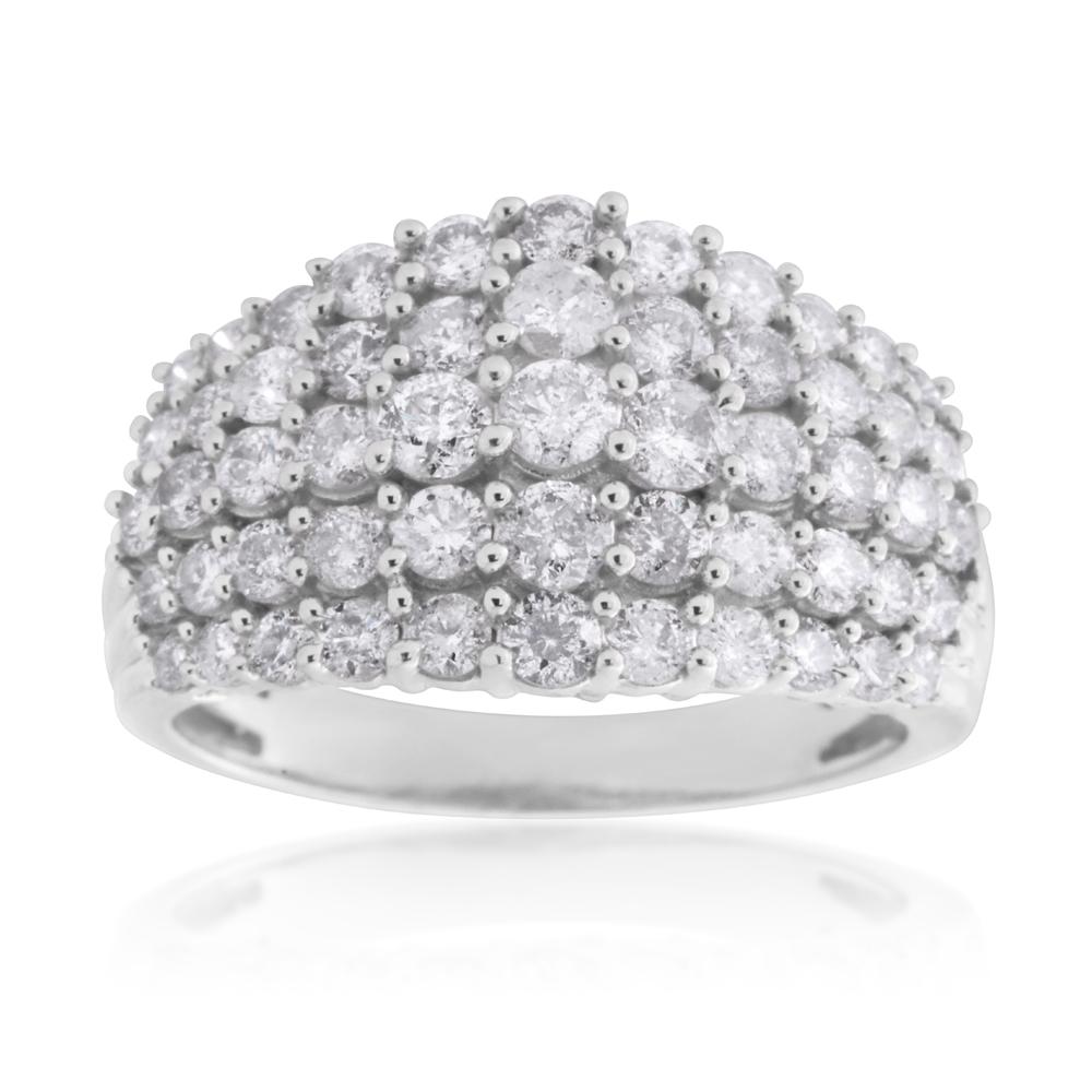 10ct White Gold 2 Carat Diamond Tapered 5 Row Ring