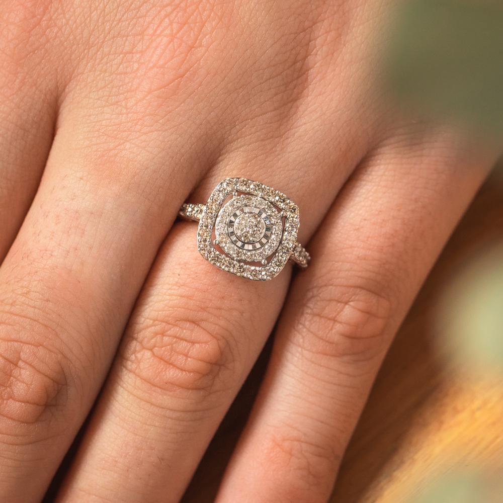 9ct Yellow Gold 1 Carat Diamond Cushion Shape Cluster Ring