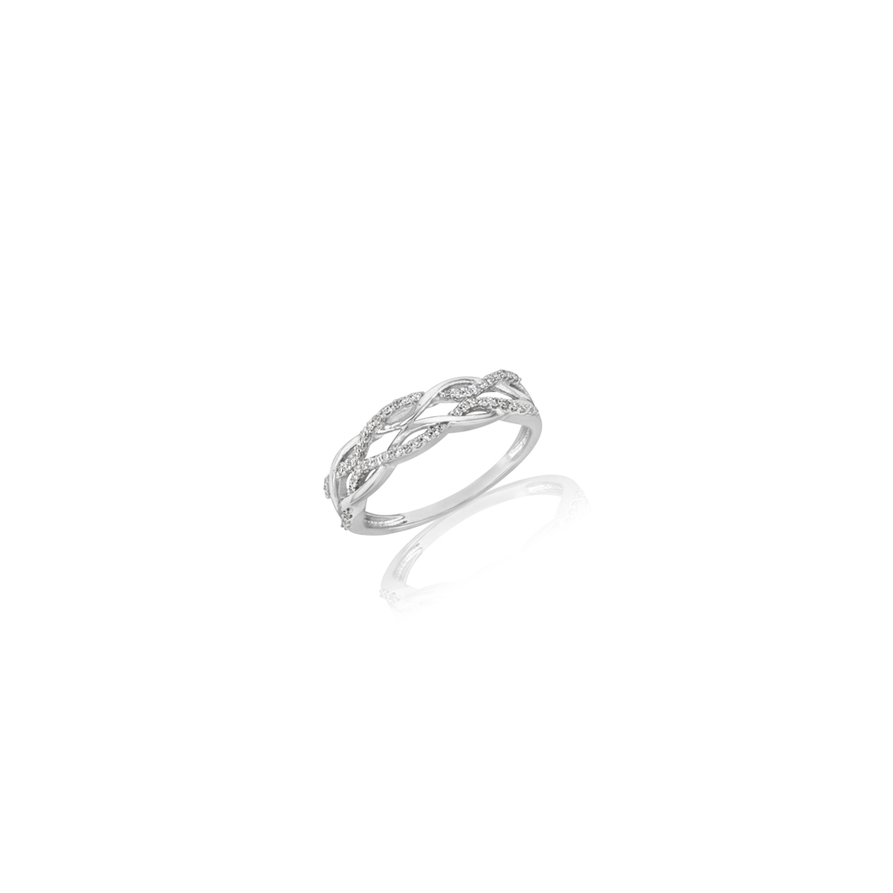 Diamond Double Infinity Ring in 9ct White Gold