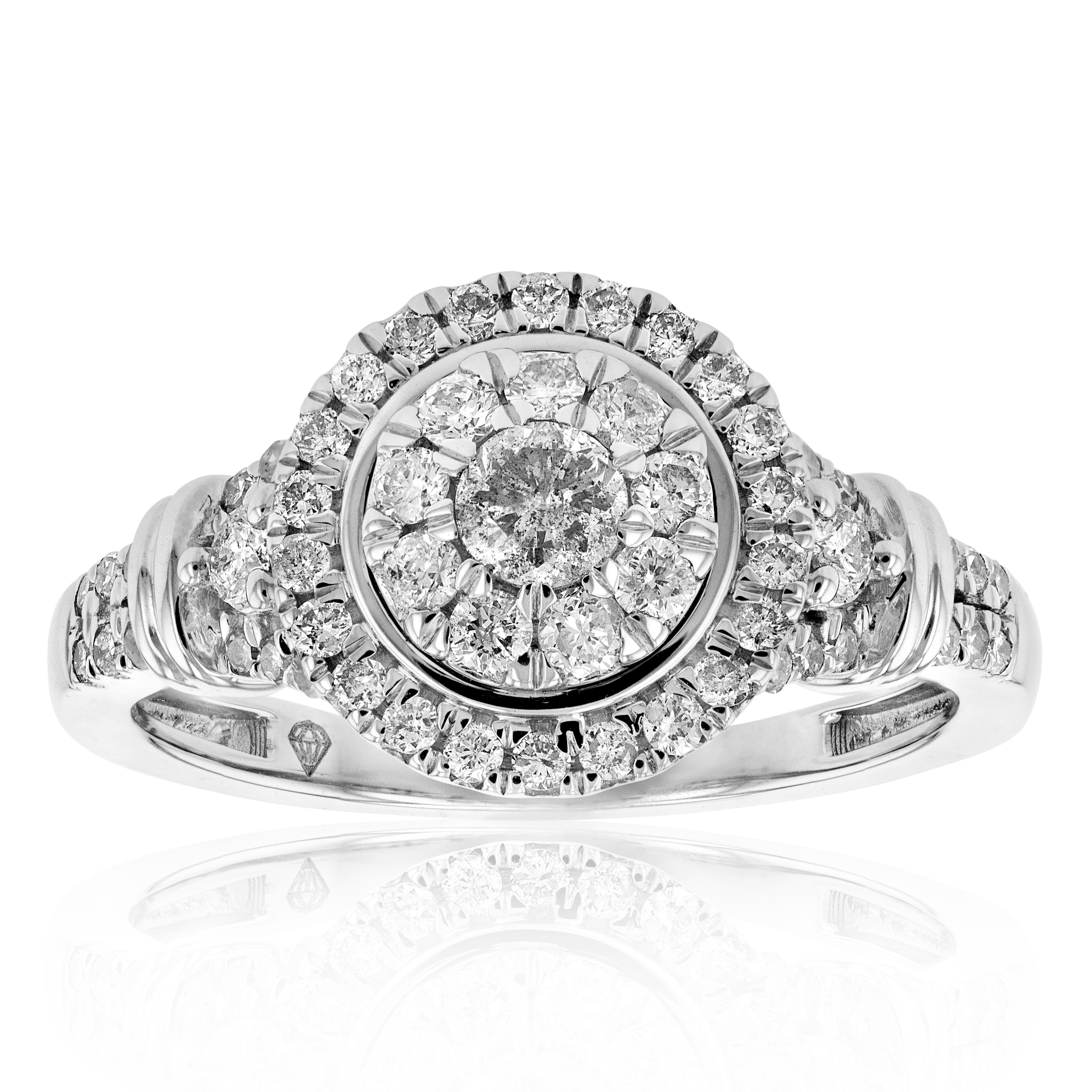 0.75ct Diamond Halo Ring in 9ct White Gold