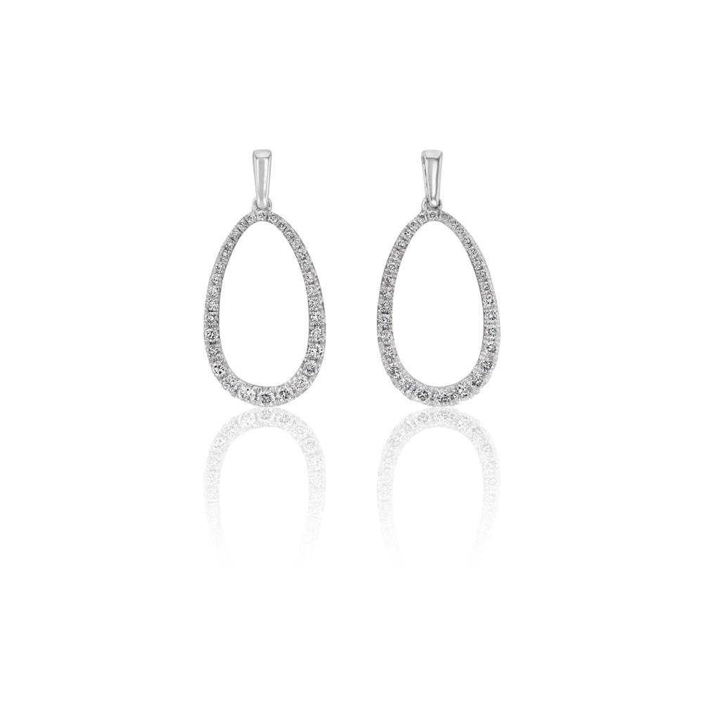 9ct White Gold 1/2 Carat Diamond Drop Earrings