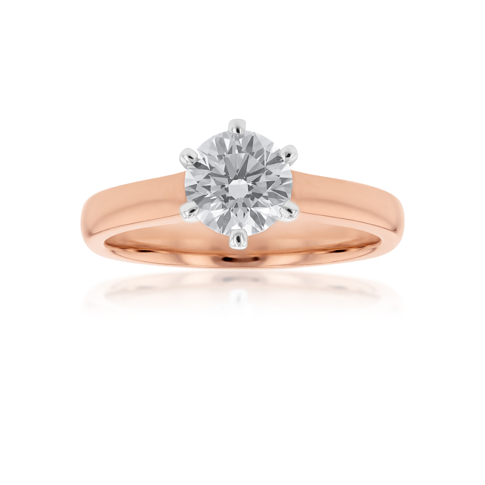 18ct White Gold Solitaire Ring With 1 Carat Certified Diamond