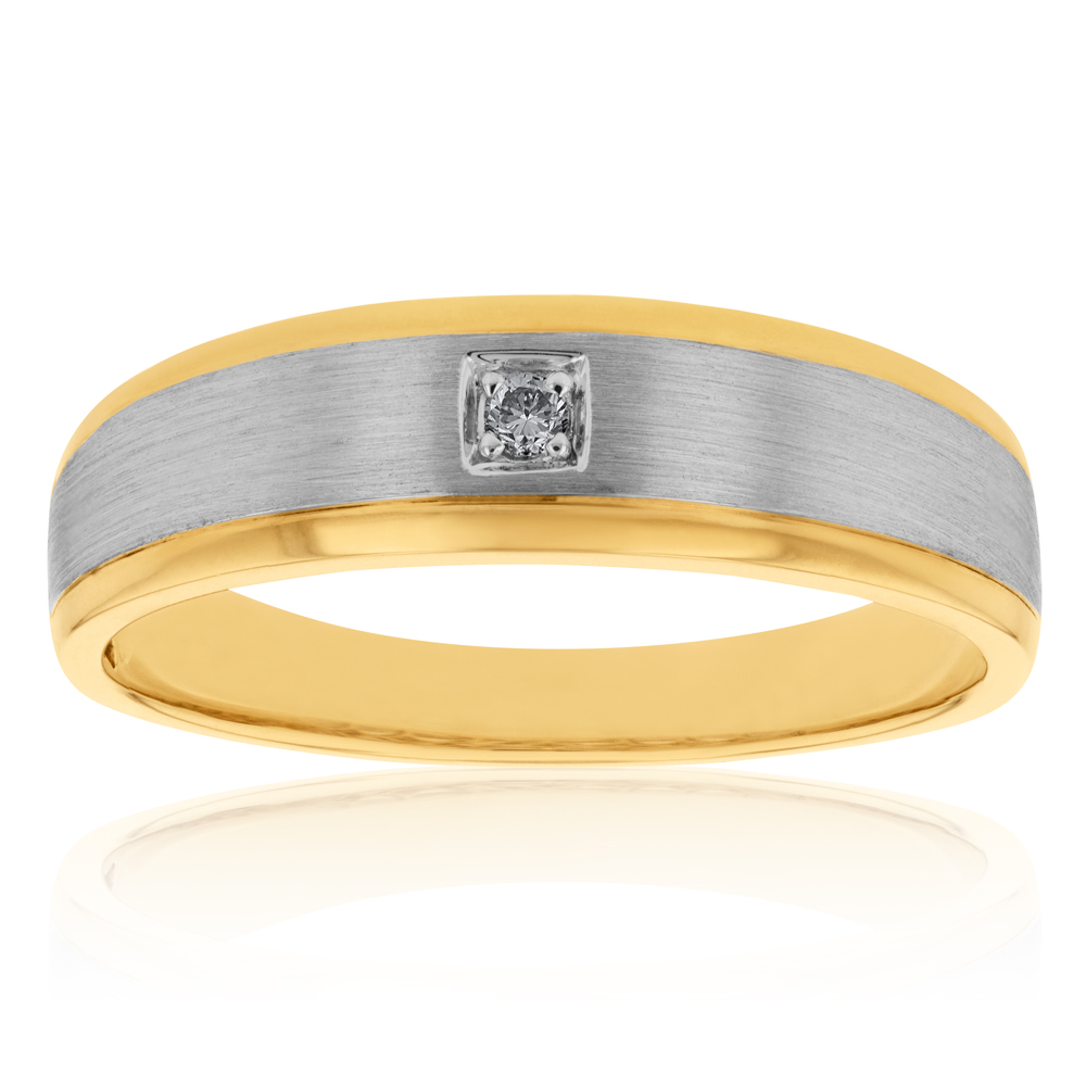9ct Yellow and White Gold Diamond Gents Ring