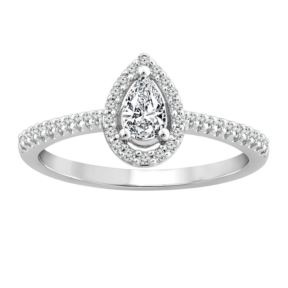 18ct White Gold 1/3 Carat  Diamond Halo Ring