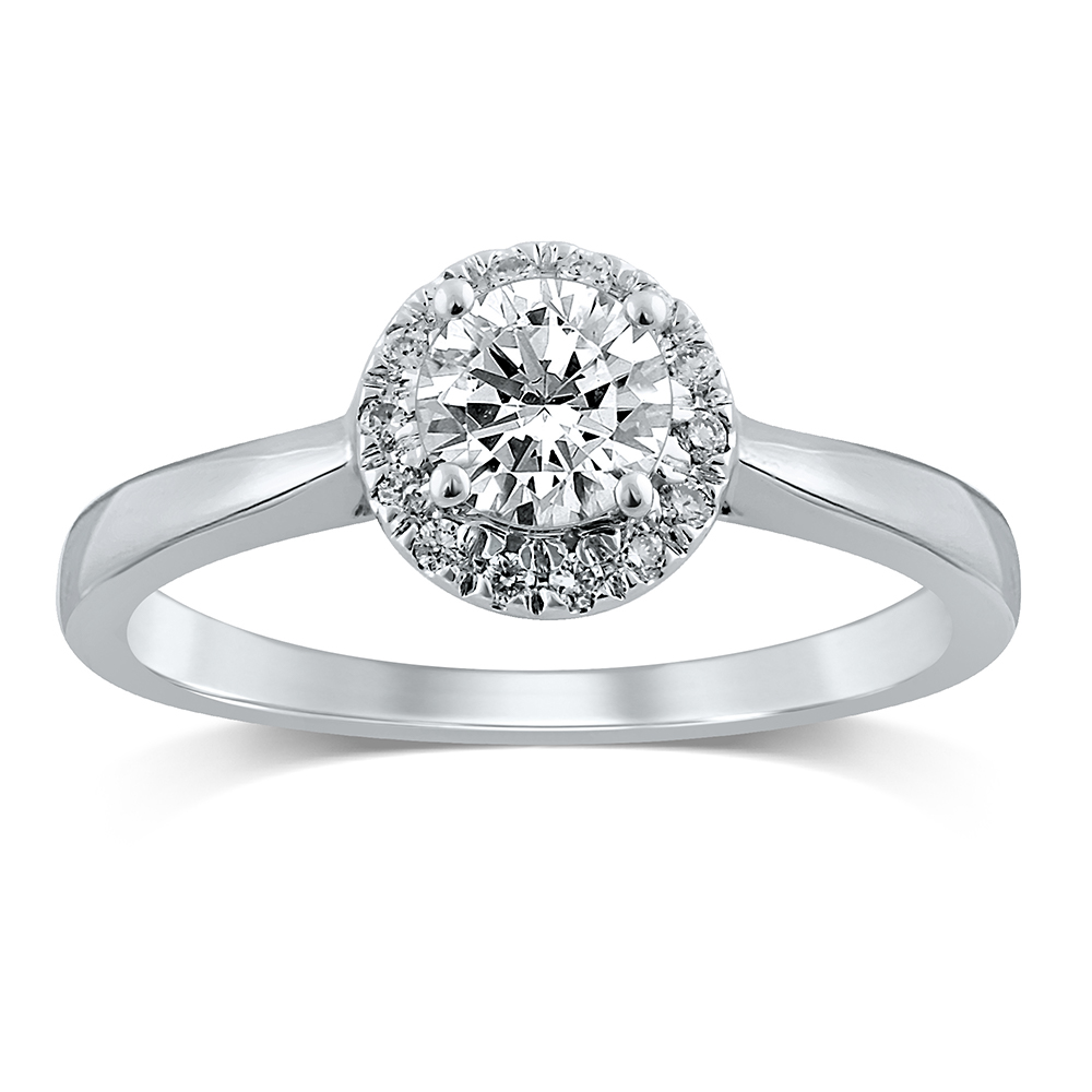 Luminesce Lab Grown 18ct White Gold 1/2 Carat Diamond Halo Ring
