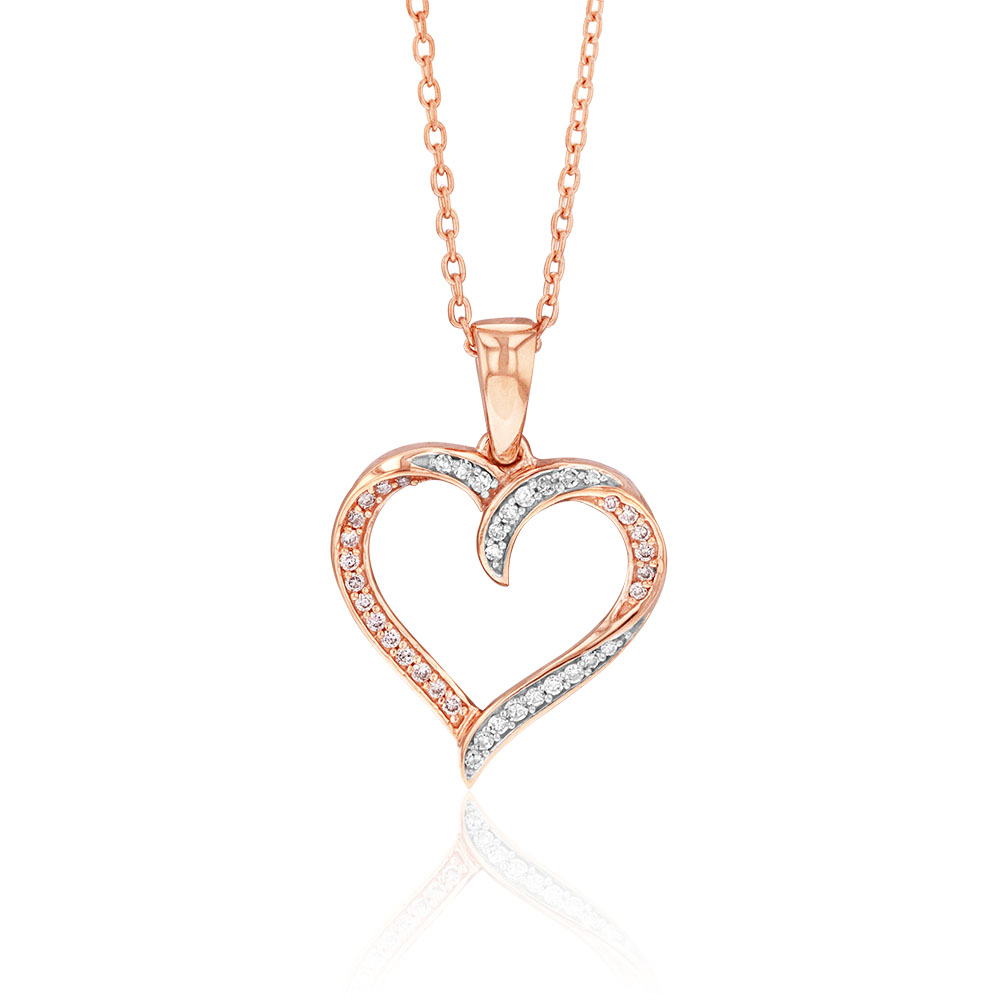 9ct Rose Gold Diamond Heart Pendant with Pink and White Diamonds