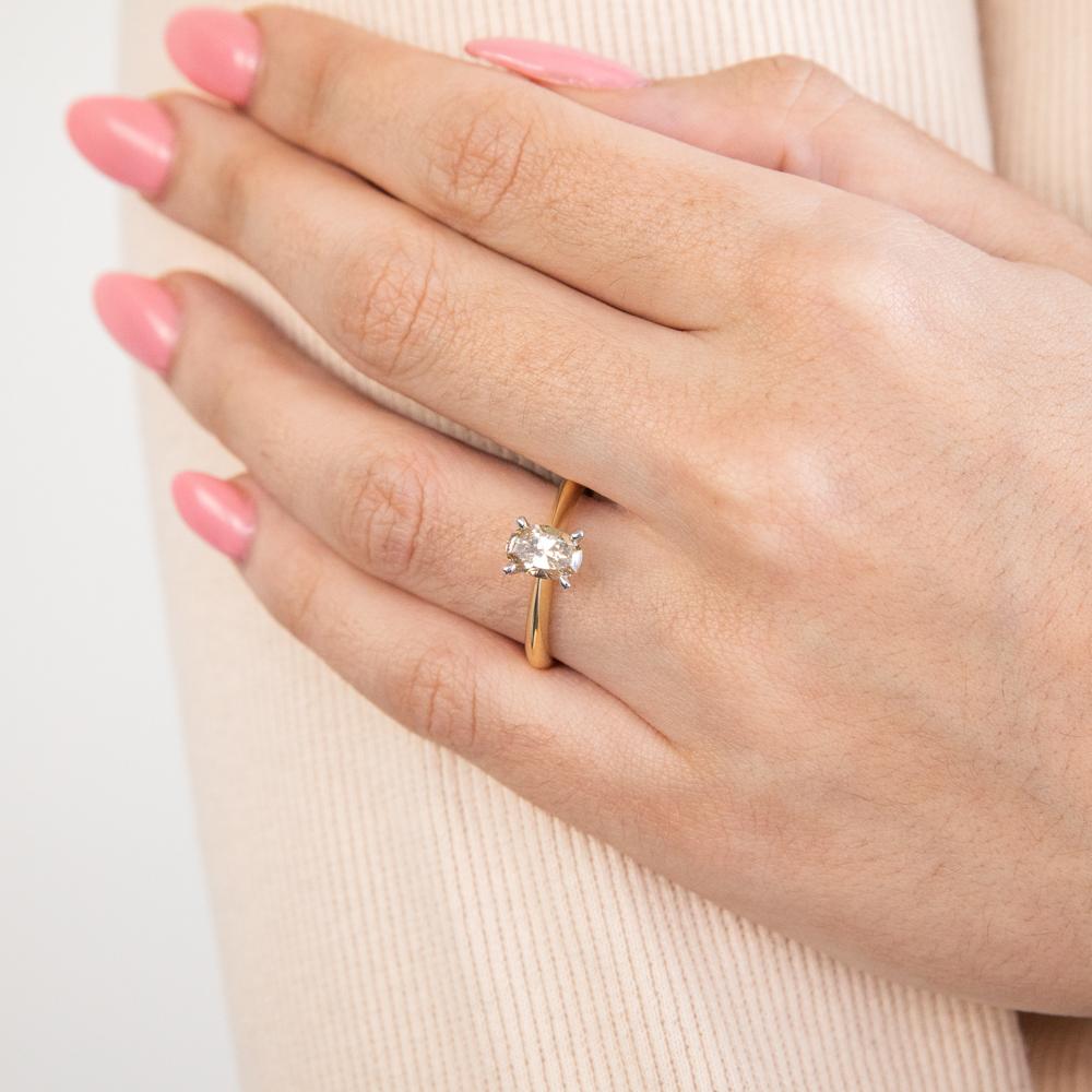 18ct White Gold Diamond Ring With 1 Carat Oval Champagne Australian Diamond