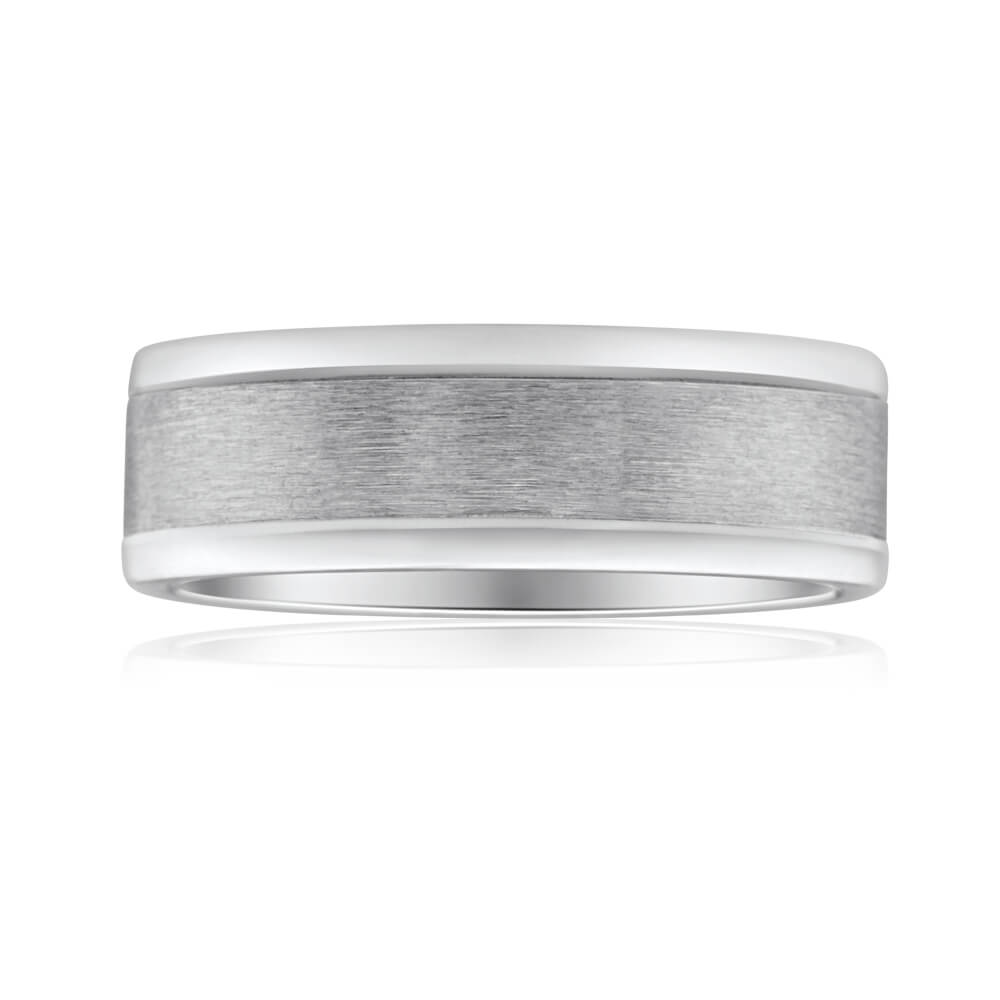 Flawless Cut 9ct White Gold & Titanium 7mm Ring