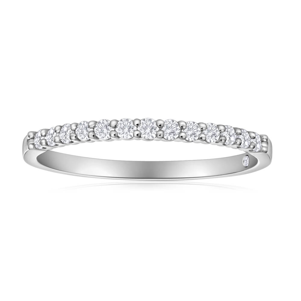Flawless Cut 18ct White Gold Diamond Ring With 14 Diamonds (TW=20pt)
