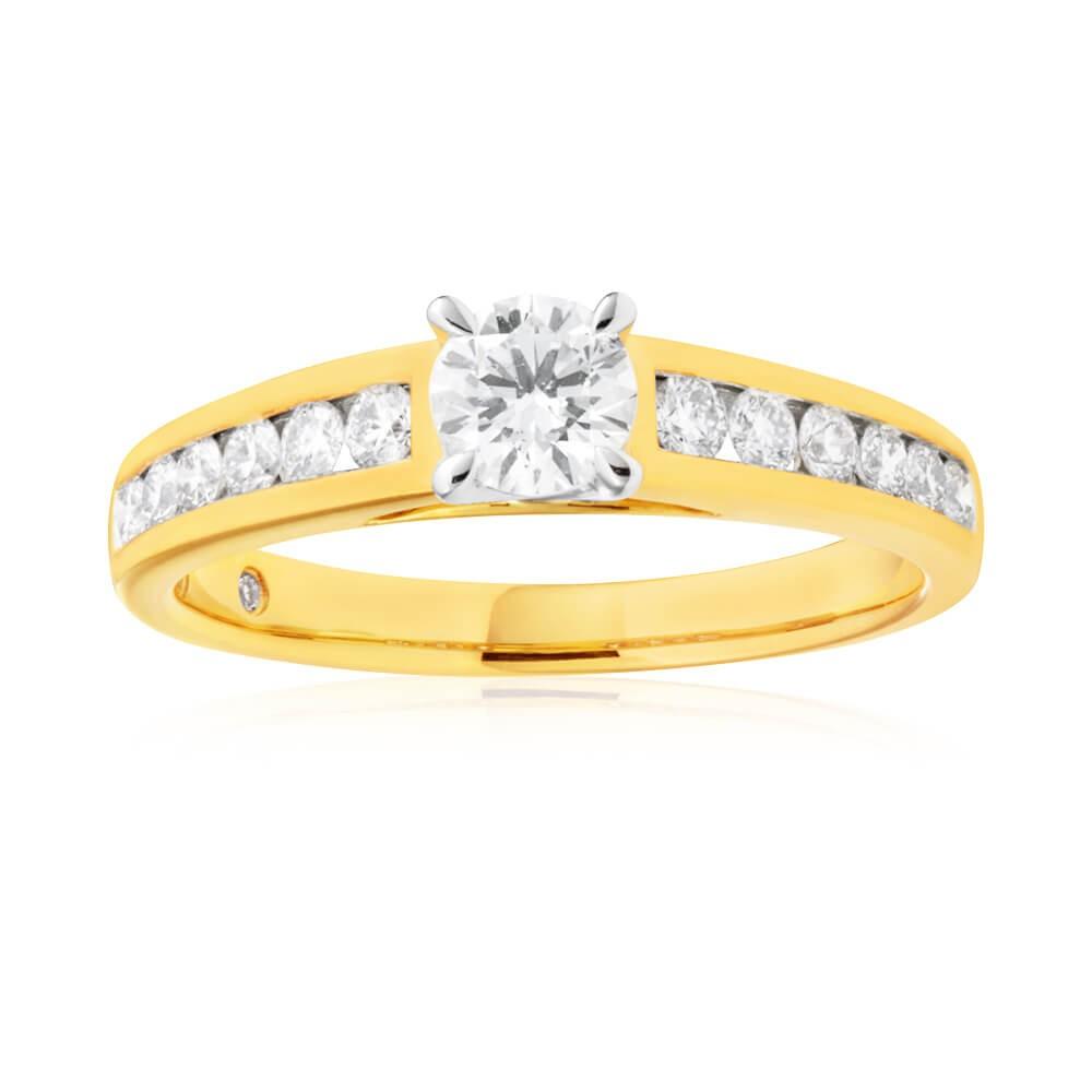 Flawless Cut 18ct Yellow Gold Diamond Engagement Ring (TW=2/3 Carat)