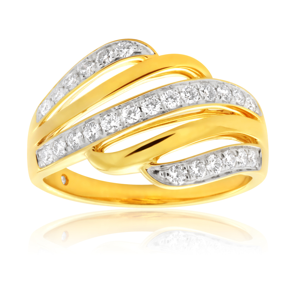 Flawless 1/3 Carat 9ct Yellow Gold Diamond Ring
